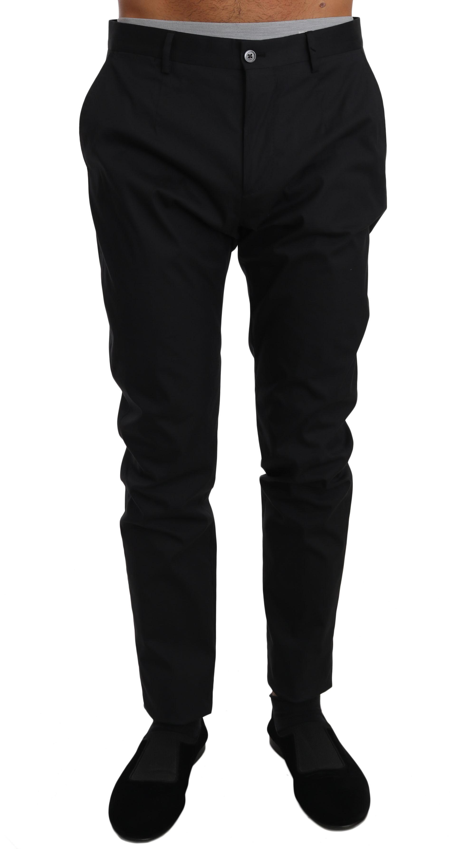 Dolce & Gabbana Men's Cotton Stretch Formal Trouser Black PAN61127 - IT54   XXL