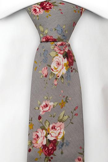 Bomull Smale Slips, Røde, rosa, gule og blå roser på grått, Grå, Blomster