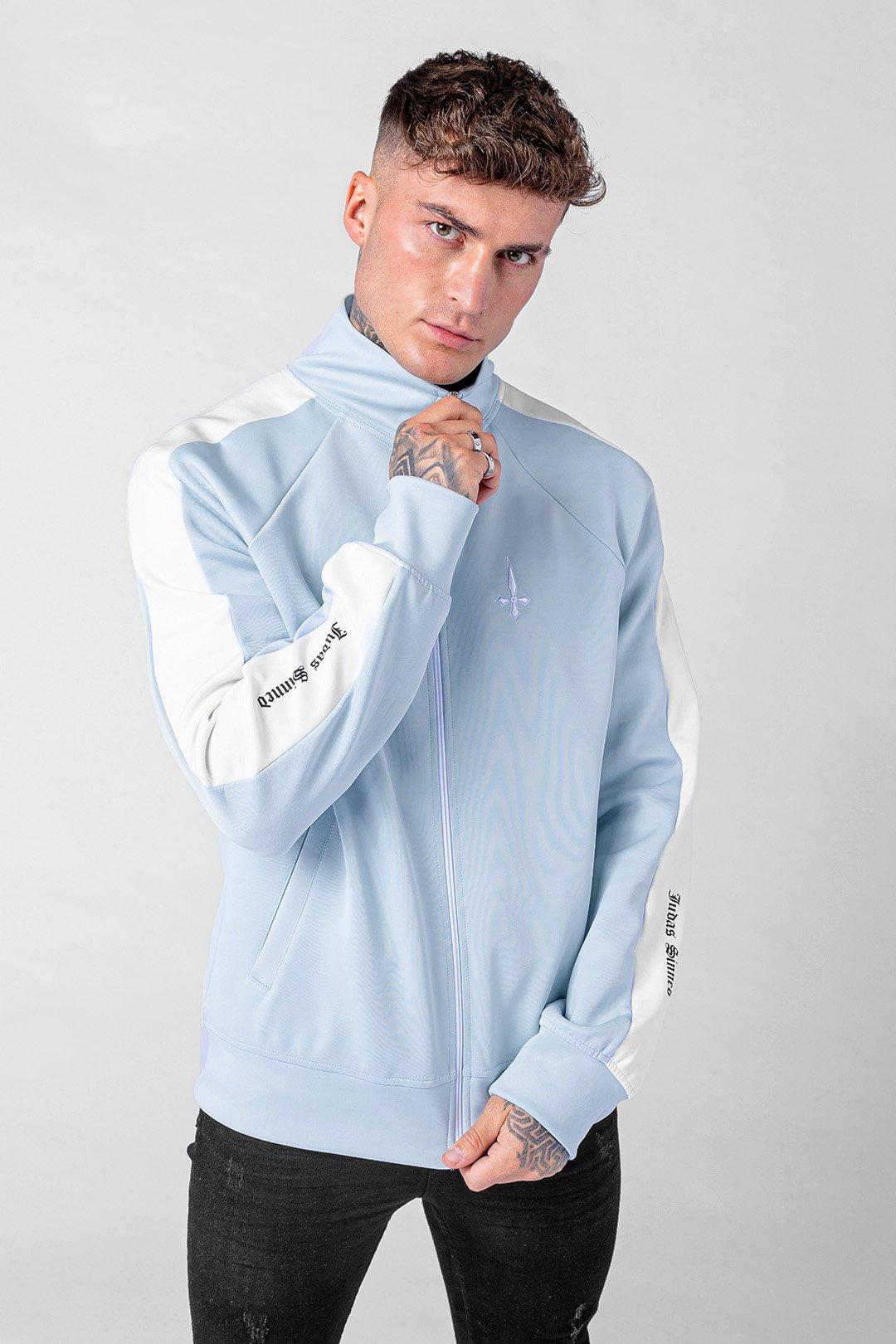 Match Zip Sleeve Stripe Men's Track Top - Baby Blue, Small