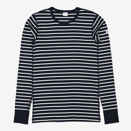 Stripet genser voksen mørkblå