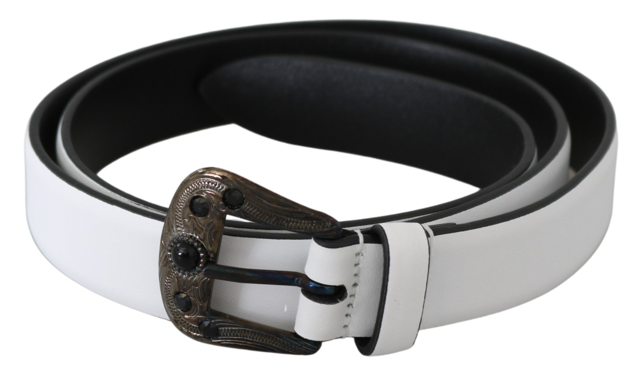 White Black Leather Crystal Baroque Buckle Belt - 90 cm / 36 Inches