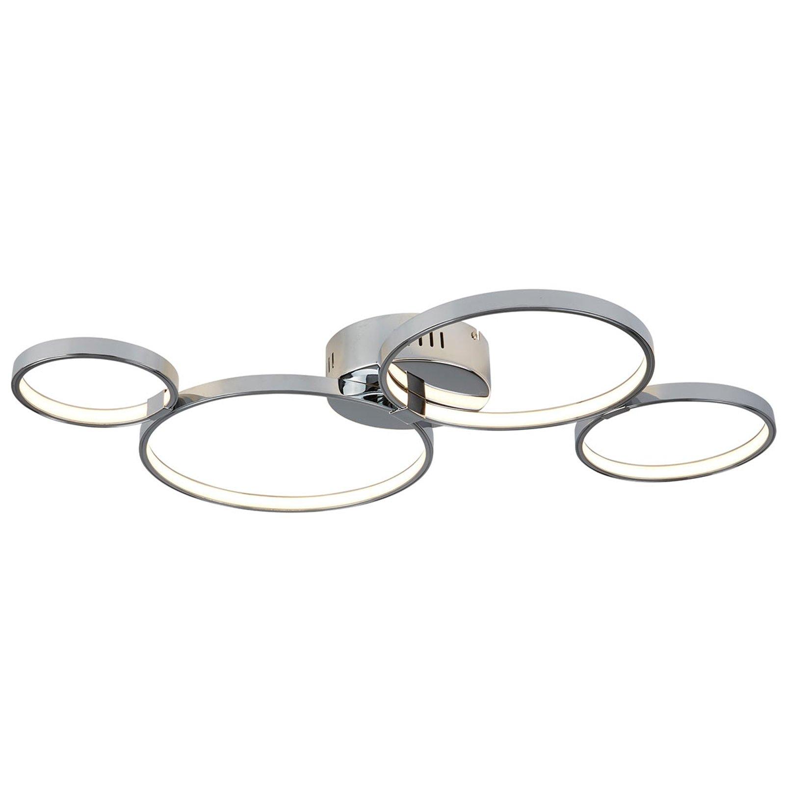 Ringformet LED-taklampe Solexa i kromstil