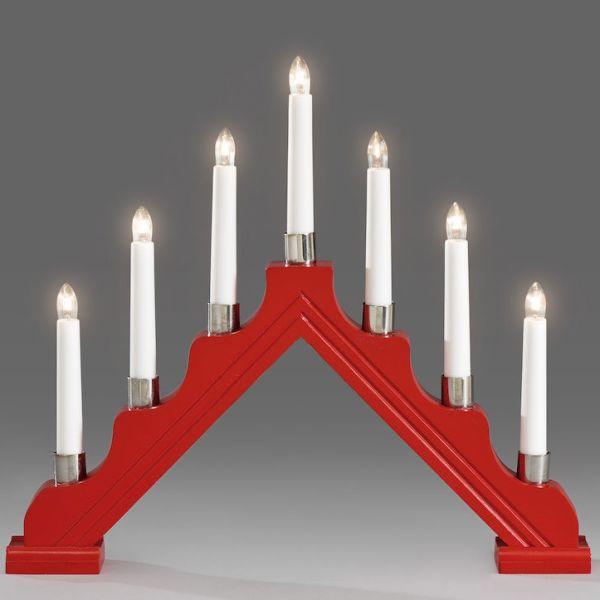 Konstsmide 1041-510 Elektrisk lysestake 7 lys rød