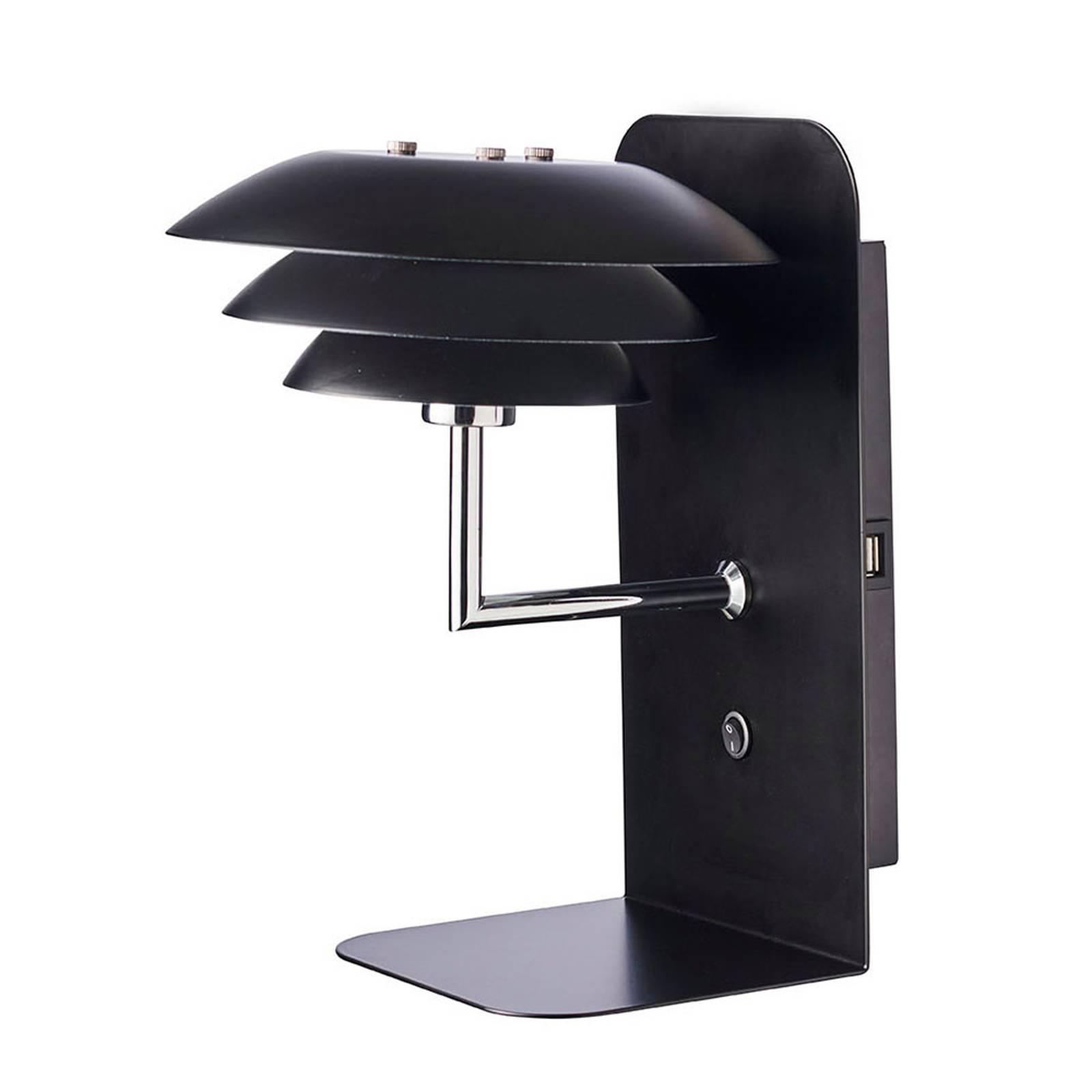 Dyberg Larsen DL20 USB Shelf -seinälamppu, musta