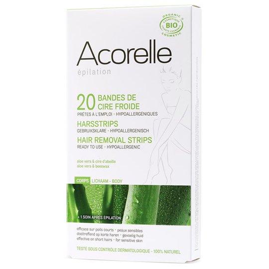 Acorelle Ekologiska Vaxremsor för kroppen, 20 st