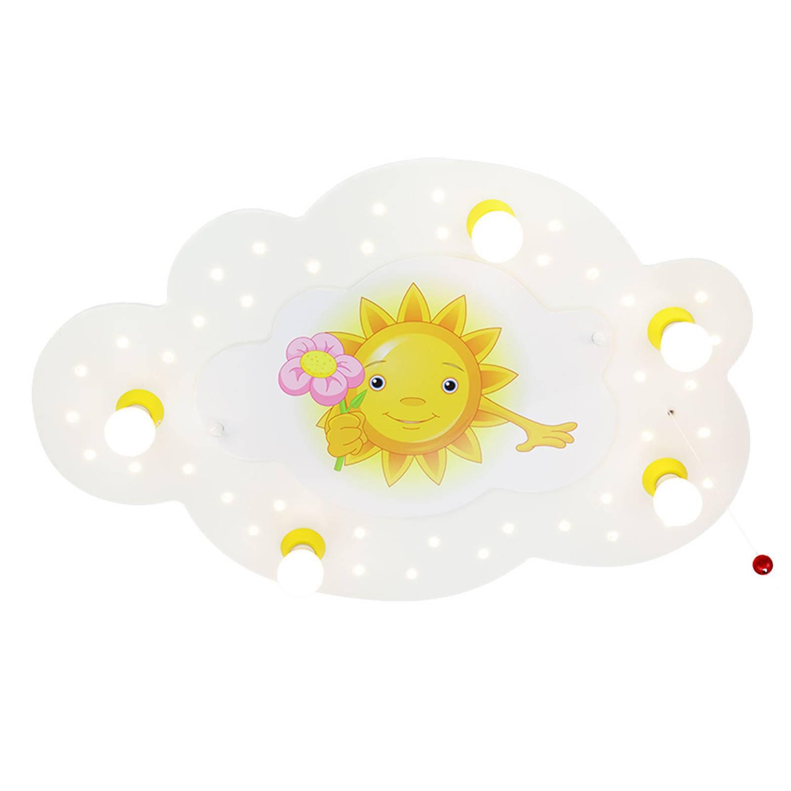 Taklampe Sun med blomst, 5 lyskilder, hvit