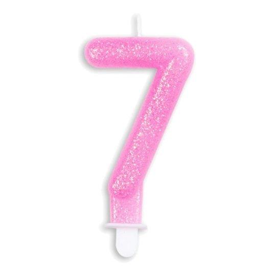 Tårtljus Siffra Glitter Rosa - Siffra 7