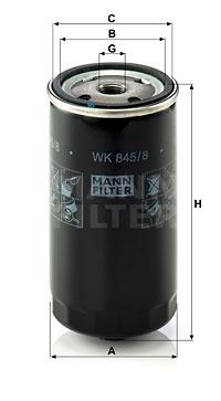 Polttoainesuodatin MANN-FILTER WK 845/8