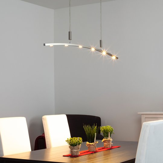 Kaareva LED-riippuvalaisin Falo, korkeussäädöllä