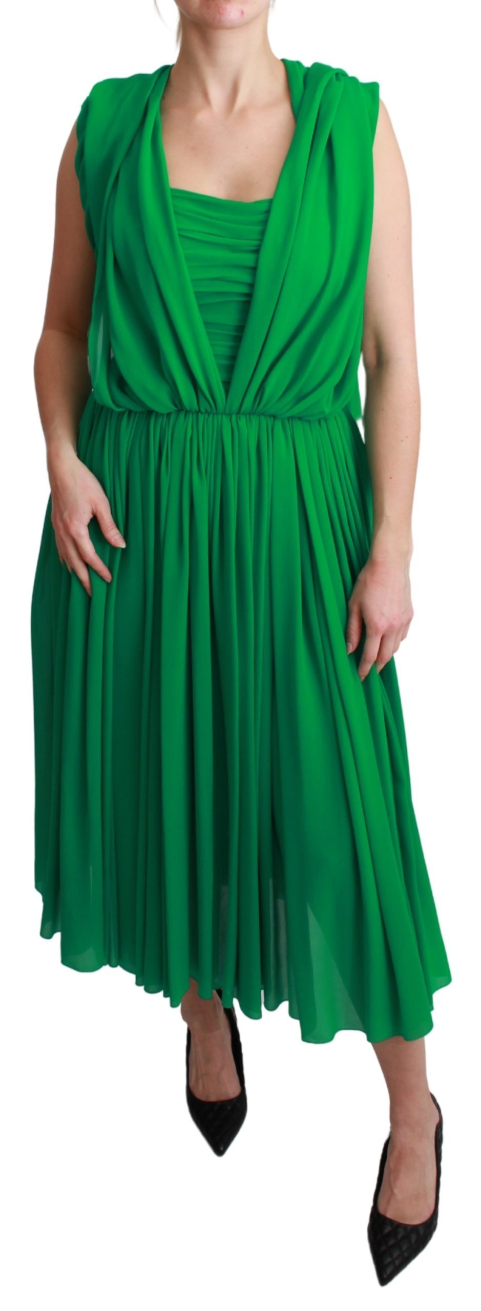 Dolce & Gabbana Women's Silk Sleeveless Pleated Dress Green DR2557 - IT40|S