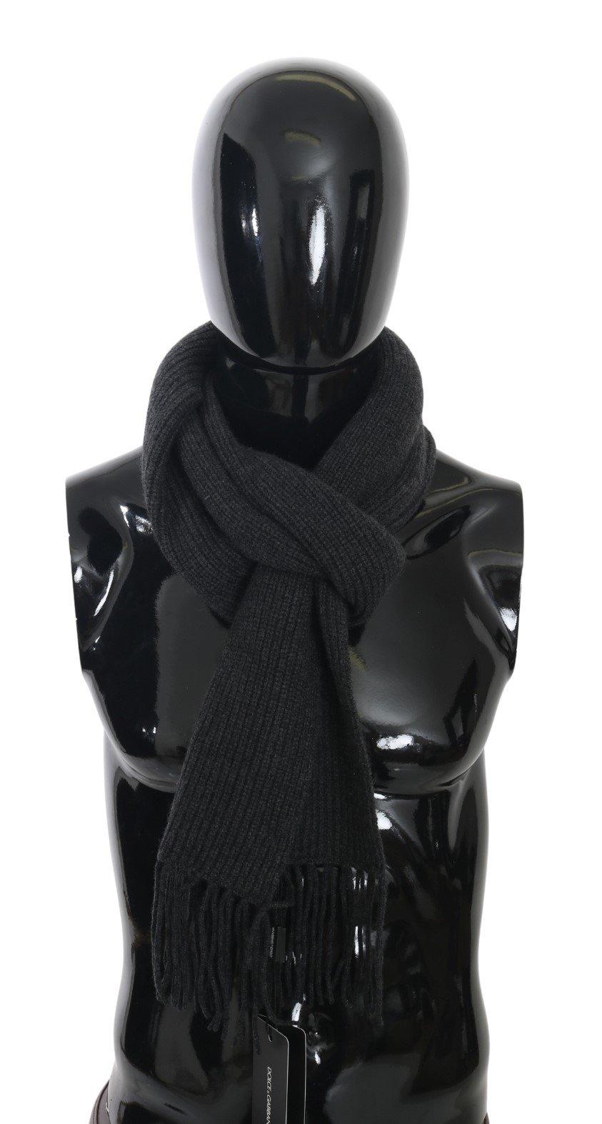 Dolce & Gabbana Men's Fringe Wrap Shawl Cashmere Scarf Gray MS5510
