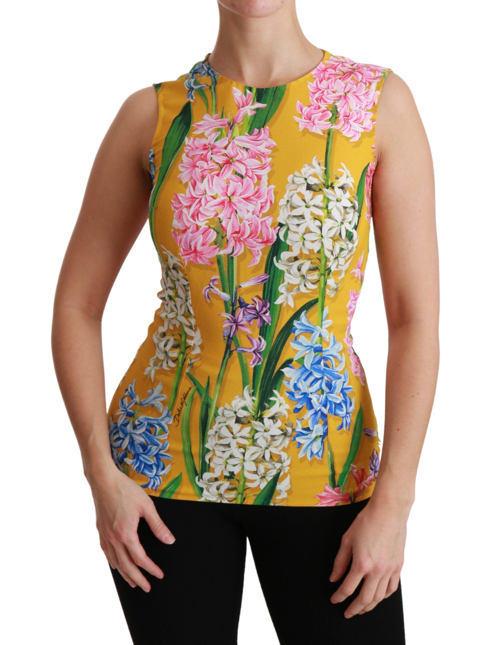 Dolce & Gabbana Women's Floral Stretch Top Yellow TSH4479 - IT38 XS