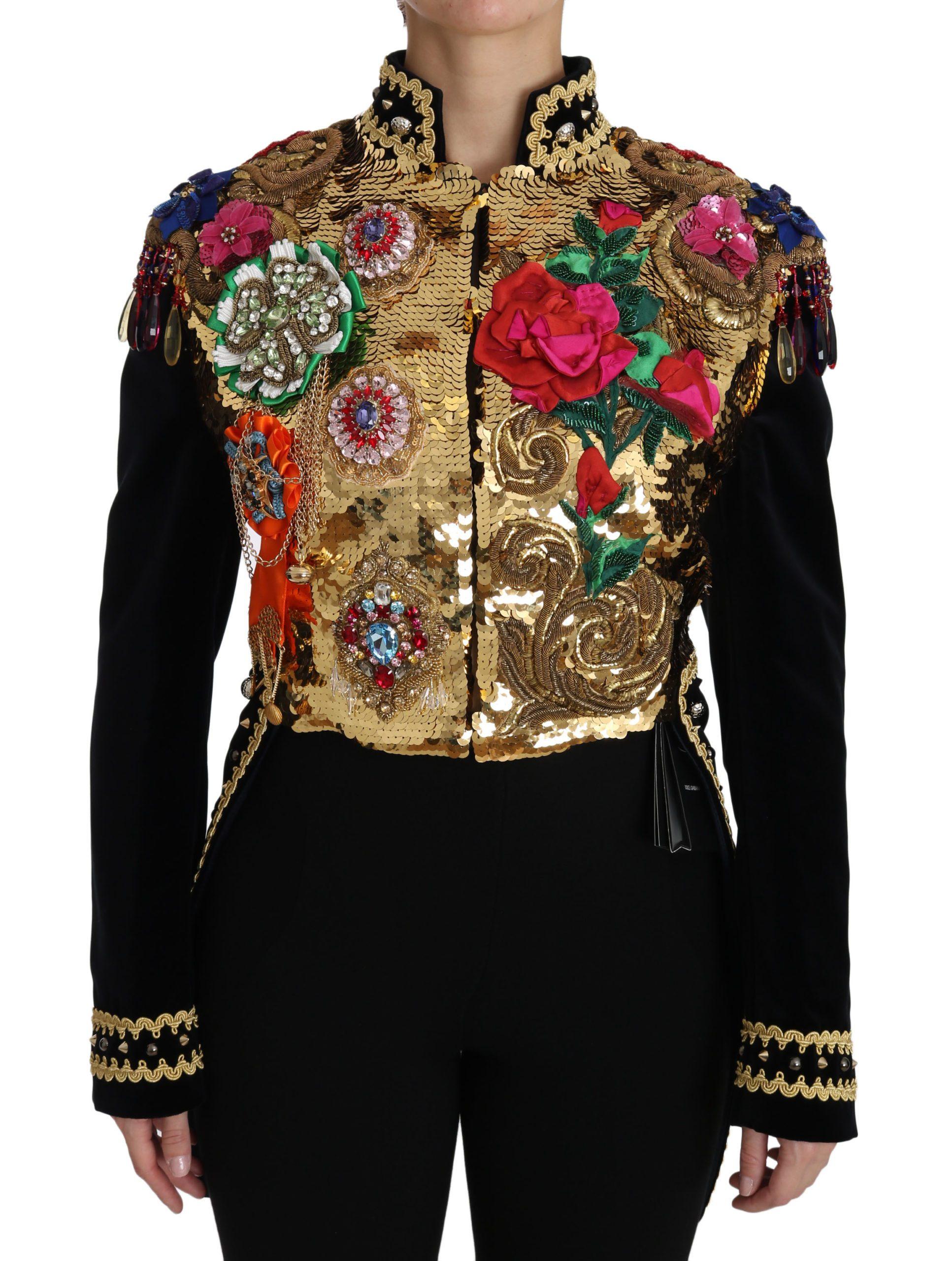 Dolce & Gabbana Women's Crystal Sequined Jacket Black JKT2413 - IT46|XL