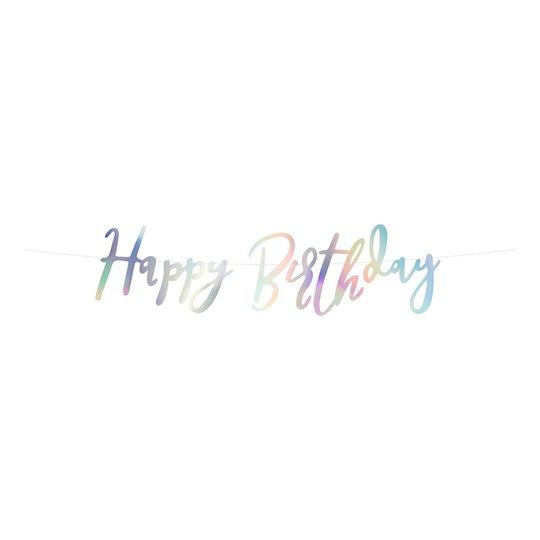 Girlang Happy Birthday Regnbågsskimrande