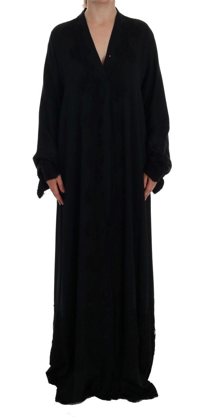 Dolce & Gabbana Women's Floral Applique Lace Kaftan Dress Blue DR1080 - IT42 M