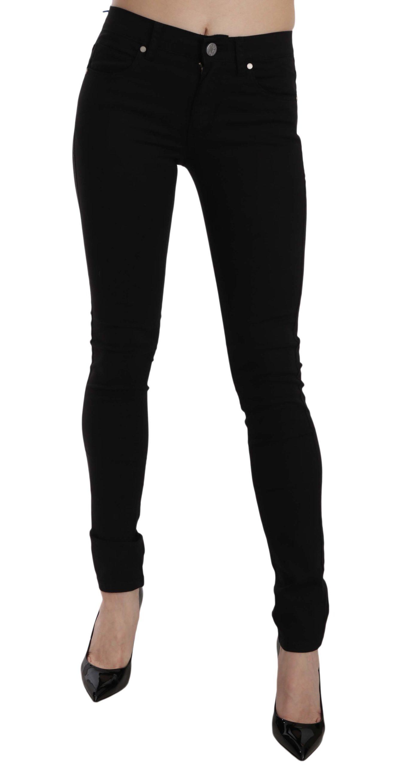 Versace Jeans Women's Tiger Logo Gabardine Slim-Fit Trouser Black PAN61014 - W27