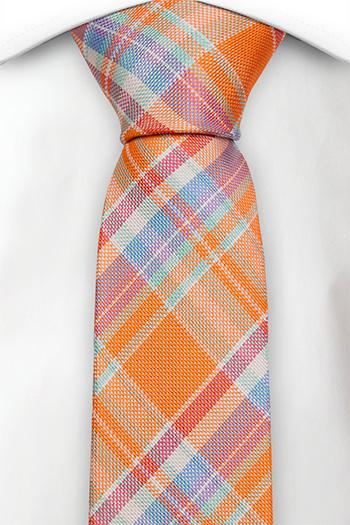 Silke Smale Slips, Lys orange Madras pledd, med rød, blå og lilla, Notch DEEPAK
