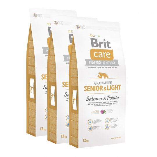 Brit Care Dog Senior & Light Grain Free Salmon & Potato 3x12 kg