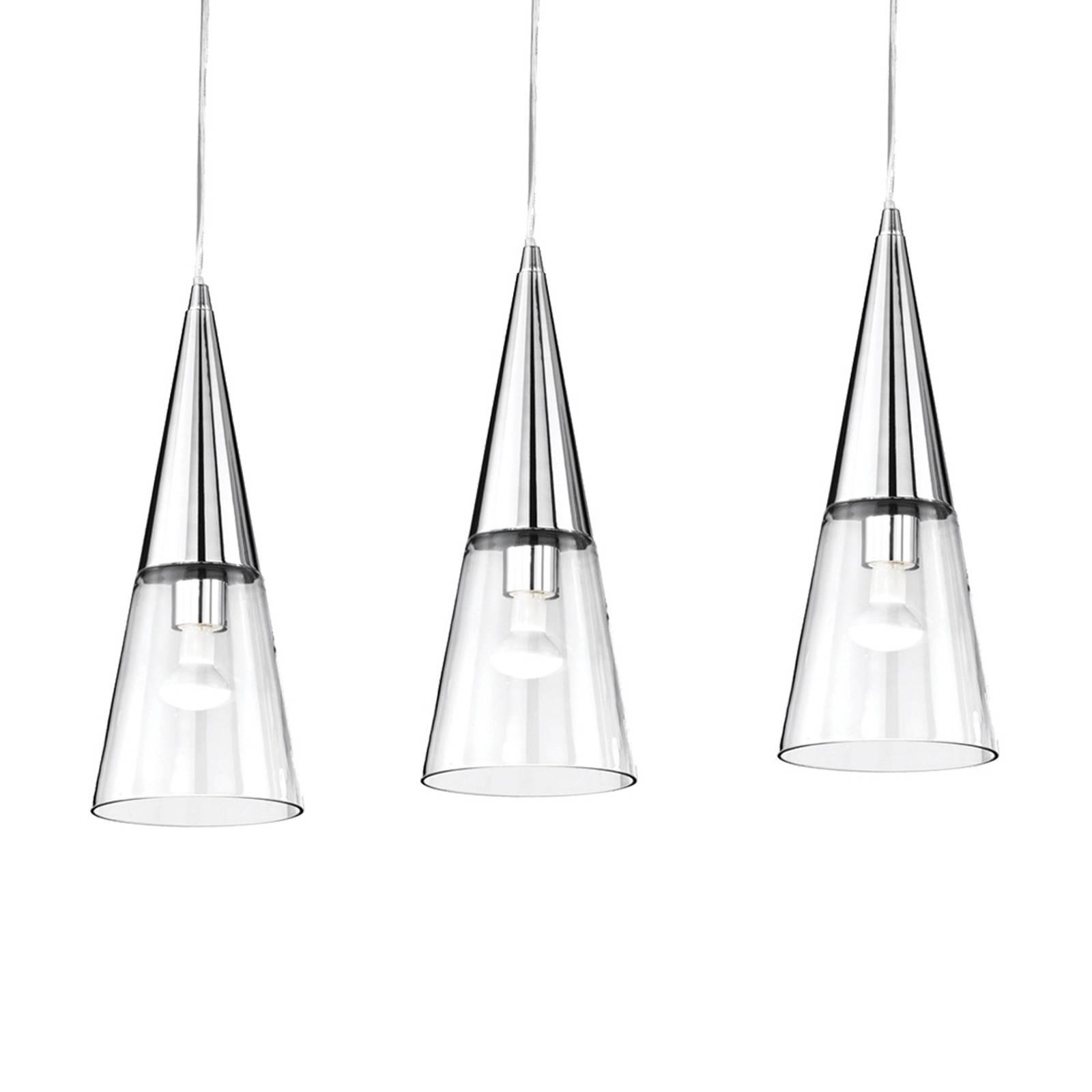 Riippuvalo Cono 3-lamppuinen kromi/läpinäkyvä