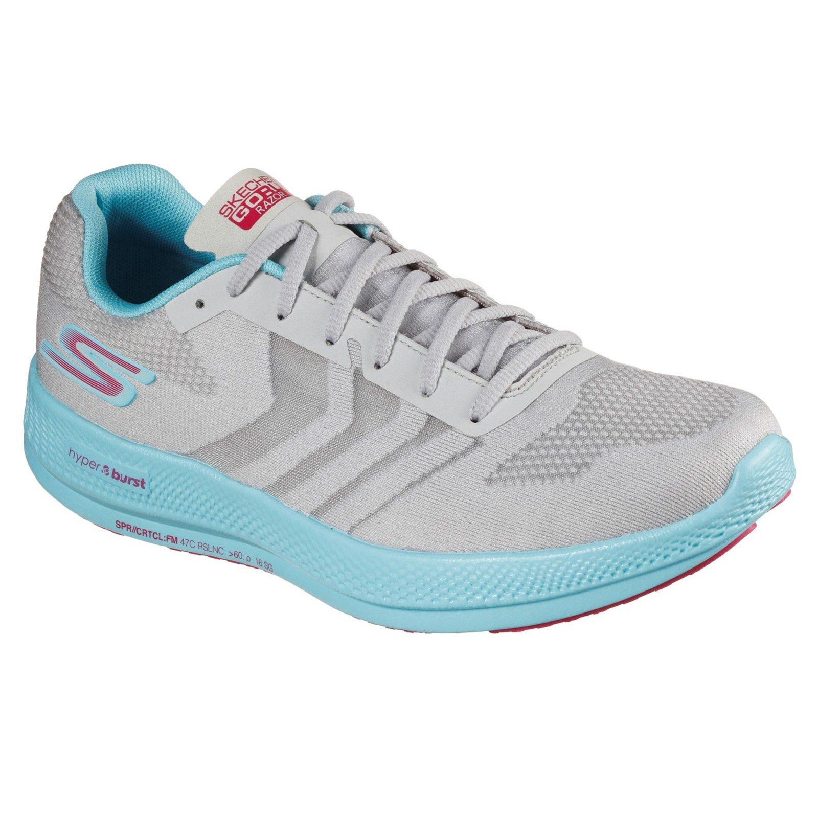 Skechers Women's Go Run Razor Trainer Various Colours 32703 - Grey/Aqua/Pink 5