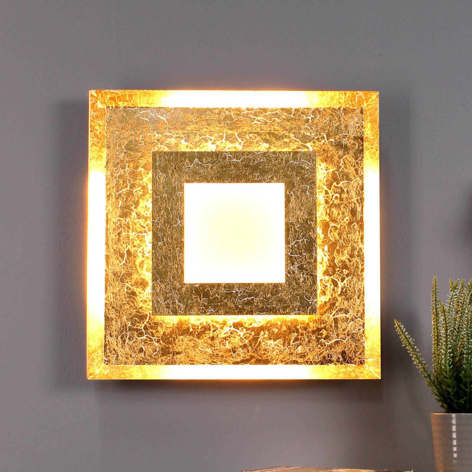 LED-vegglampe Window 39x39 cm, gull