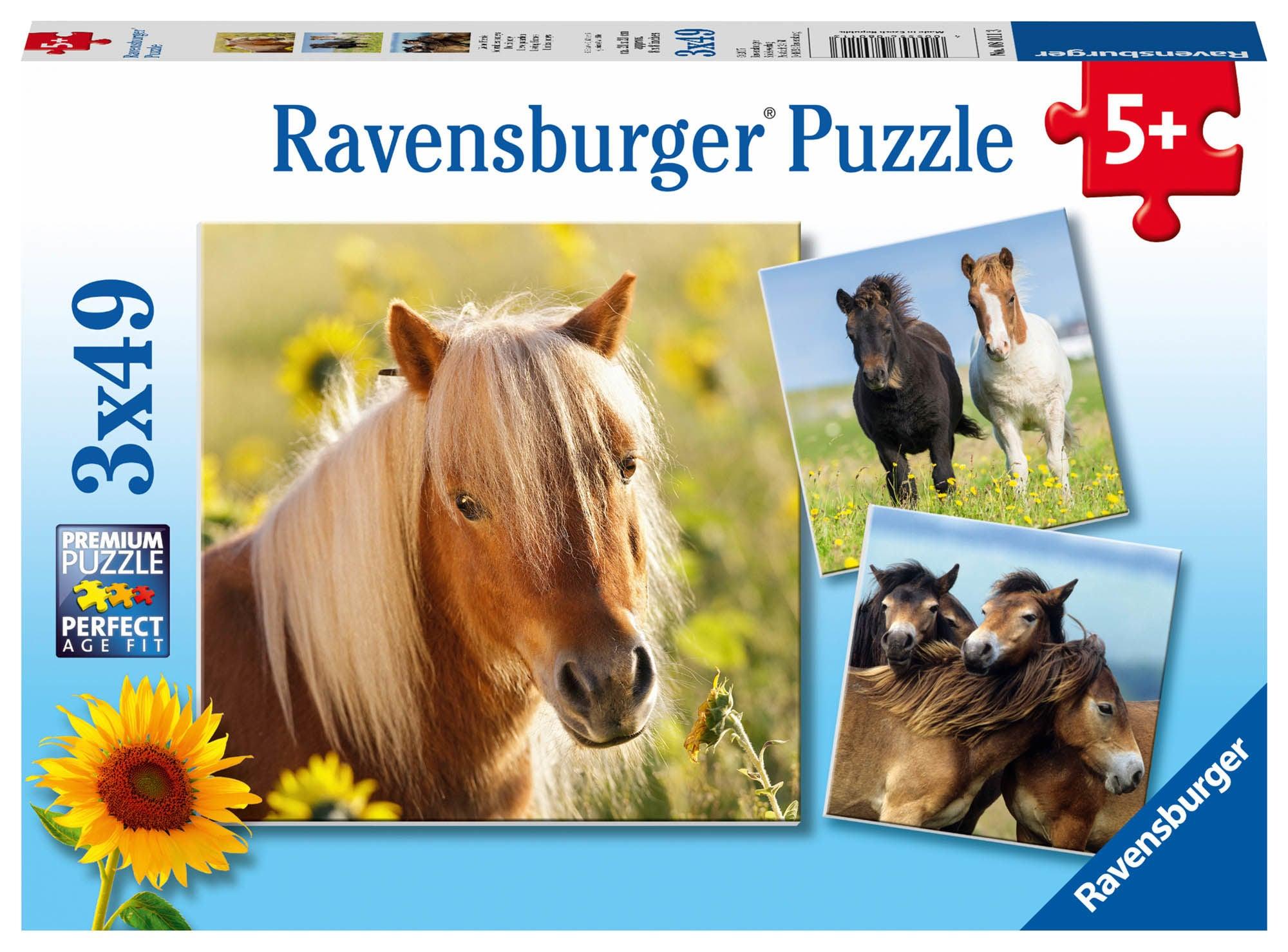 Ravensburger Pussel Söta Ponys 3x49 Bitar