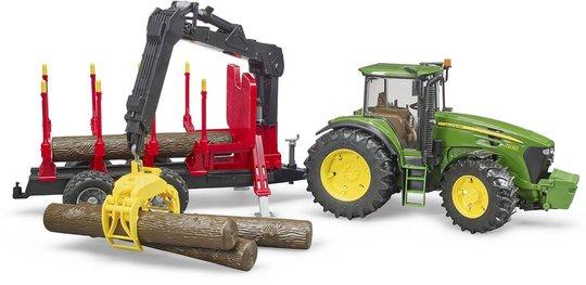 Bruder John Deere 7930 Traktor Med Skogsvogn Med Tømmerstokker
