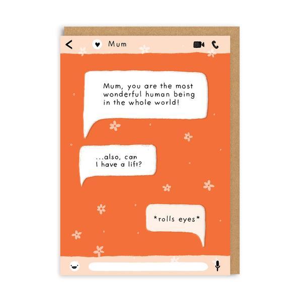 Mum Wonderful Human Being Greeting Card