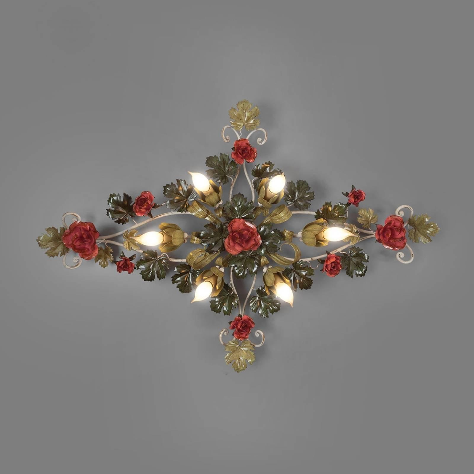 Rosedekorert taklampe Ancona, lengde 115 cm