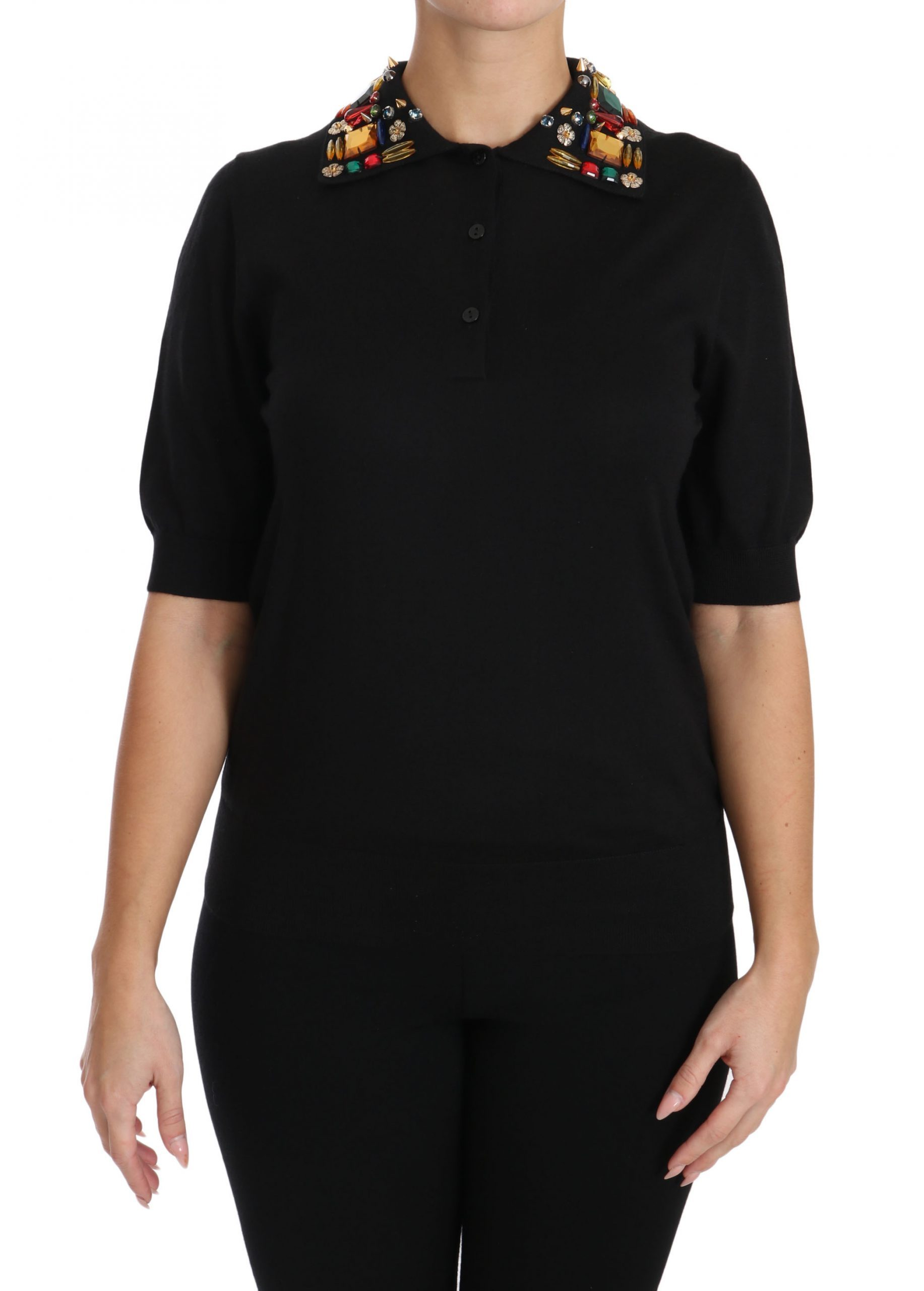 Dolce & Gabbana Women's Cashmere Crystal Top Black TSH3019-38 - IT38 XS