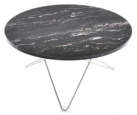 O table sofabord - black brazil marmor/rustfritt