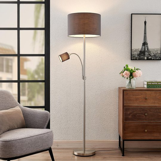 Lindby Jaileen stoffgulvlampe, leselampe, grå