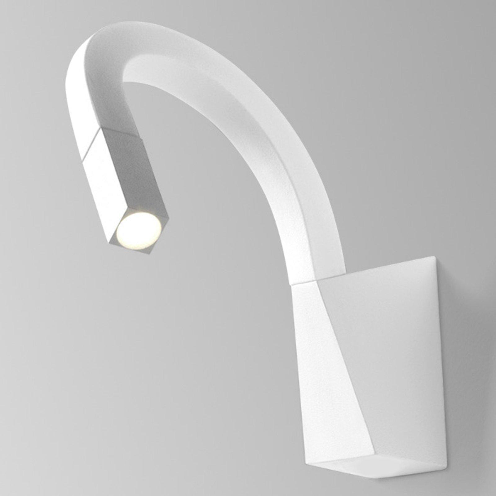 Bøyelig LED-vegglampe Snake i hvitt