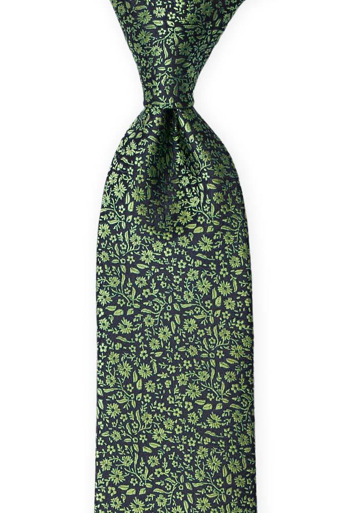 Silke Slips, Mørkeste marineblått med grønt, blomstermønster