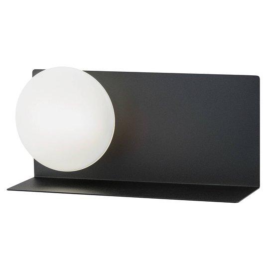 LED-vegglampe Clark med kuleglasskjerm, svart