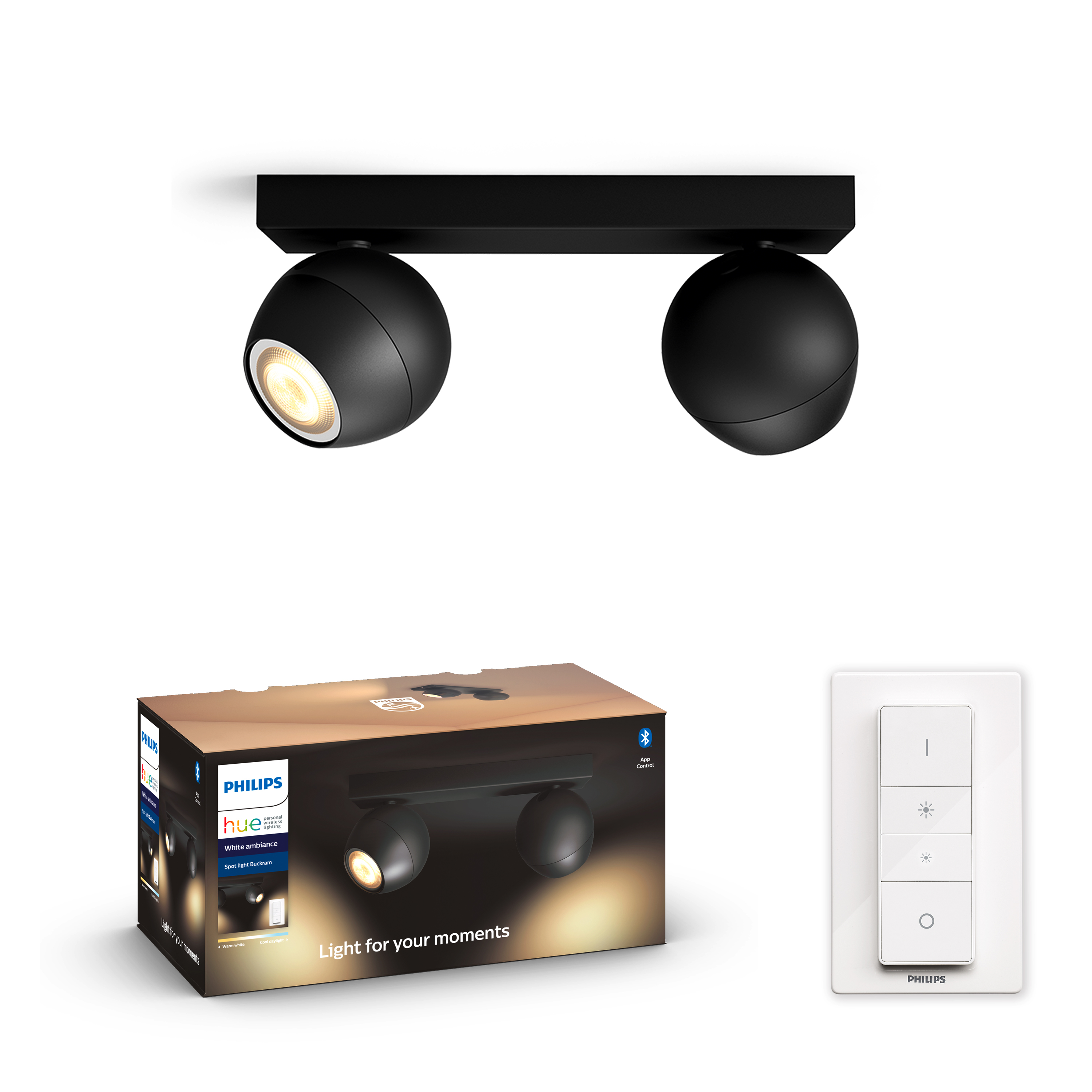 Philips Hue - BUCKRAM - Black 2x5.5W - White Ambiance - Bluetooth Included Dimmer