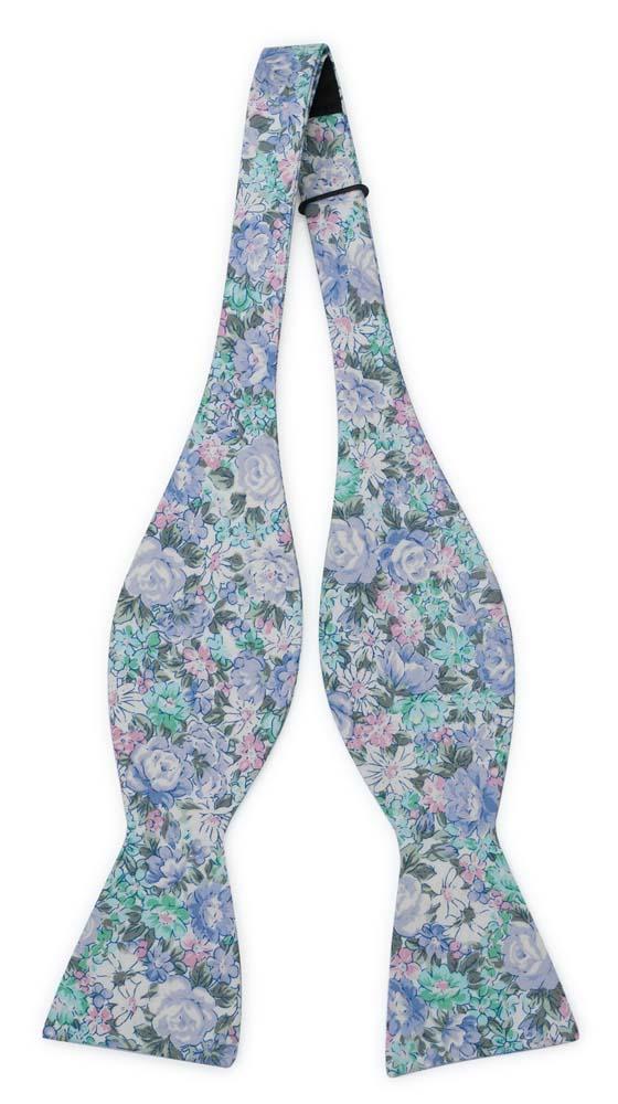 Bomull Sløyfer Uknyttede, Blå, grønnturkis, lilla & hvite blomster