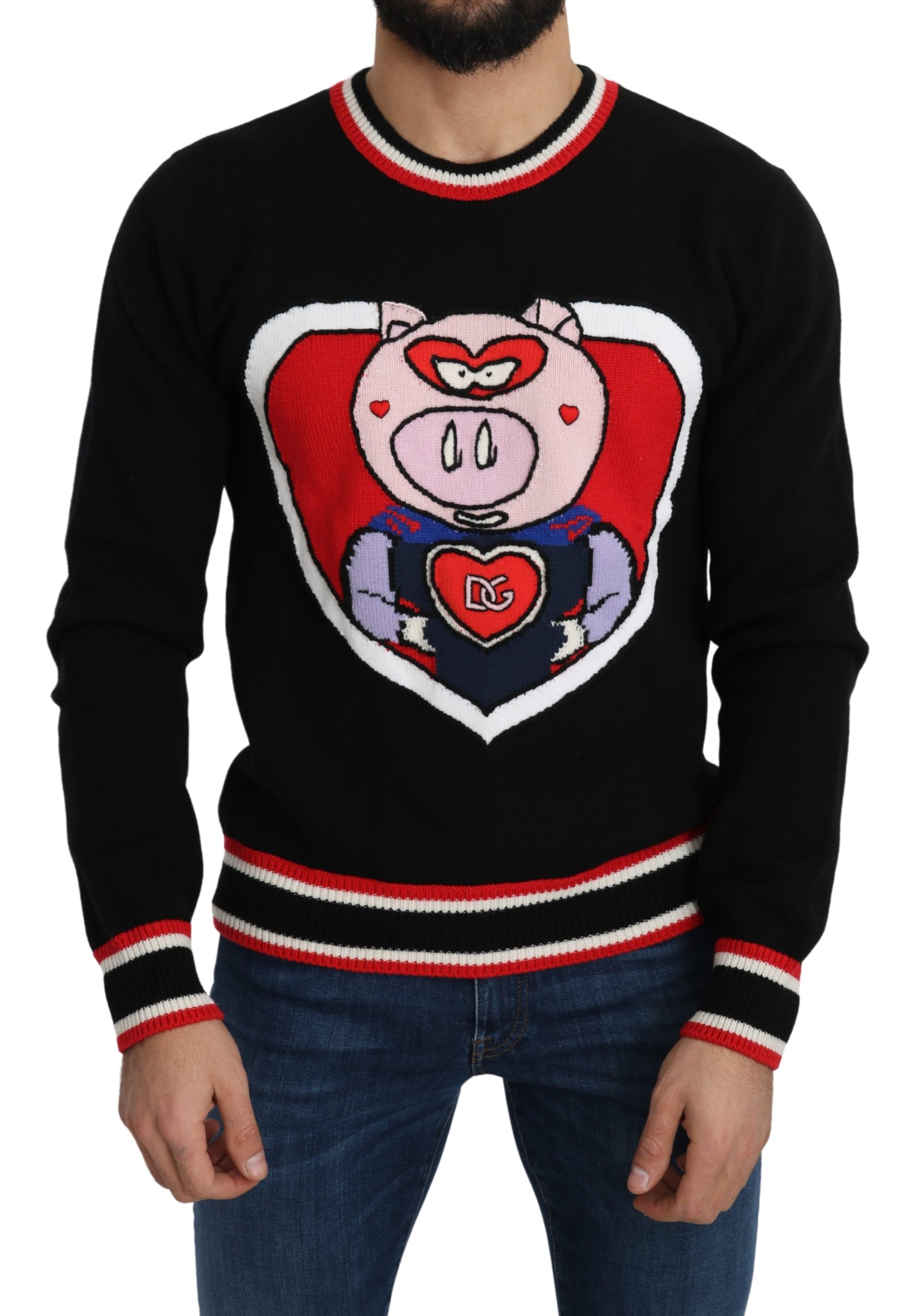 Dolce & Gabbana Men's Cashmere Pig of the Year Pullover Black TSH5092 - IT46   S