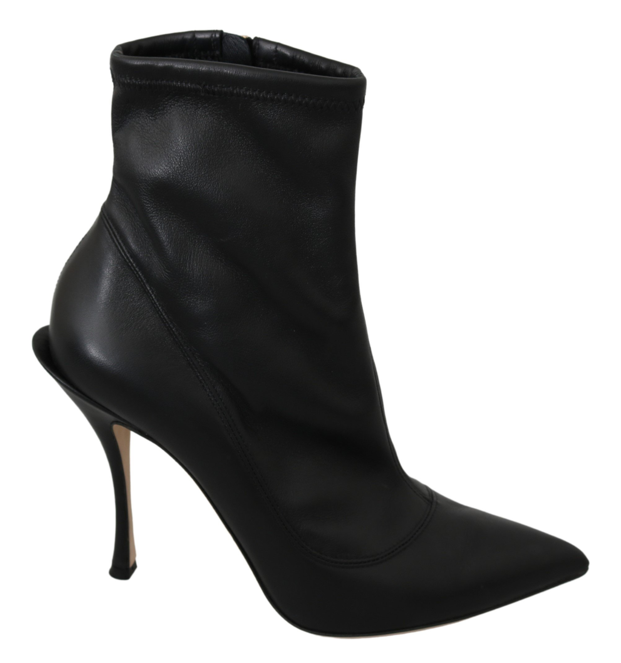 Dolce & Gabbana Women's Leather Ankle High Heel Boots Black LA7049 - EU39/US8.5