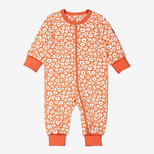 Hel pyjamas med blomstertrykk baby orange