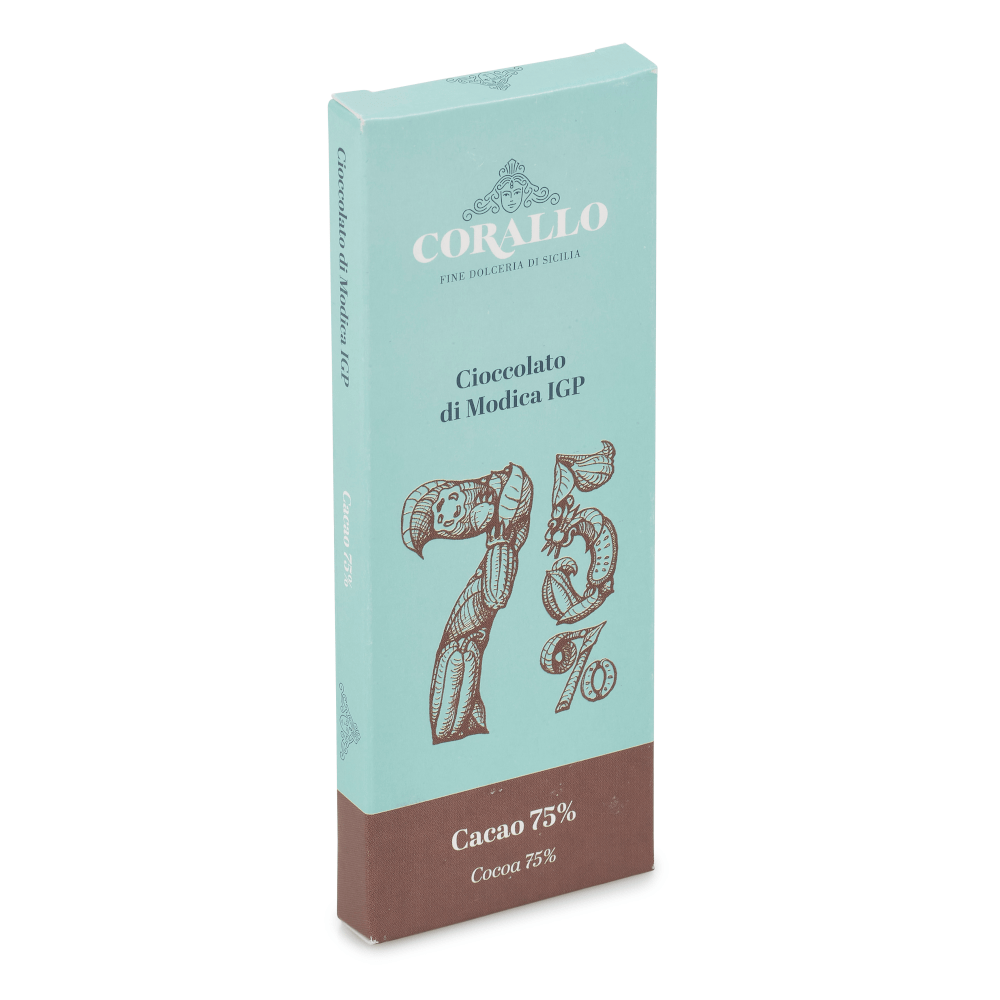 75% Modica Chocolate Bar 50g by Dolceria Corallo