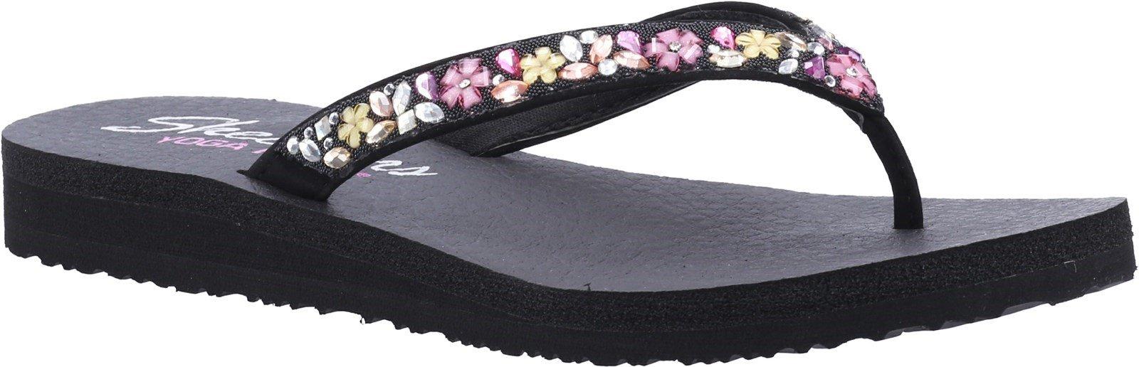 Skechers Women's Meditation Daisy Summer Sandal Various Colours 32175 - Black/Multi 3