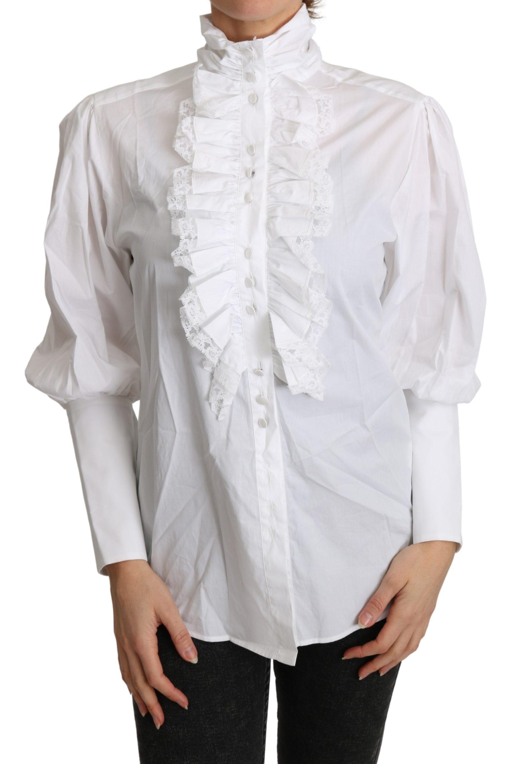 Dolce & Gabbana Women's Turtle Neck Long Sleeves Top White TSH4831 - IT36 | XS