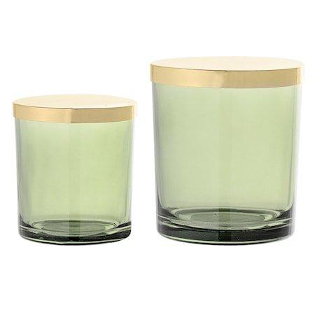 Bokser med lokk Grønn Glass 2-pakk