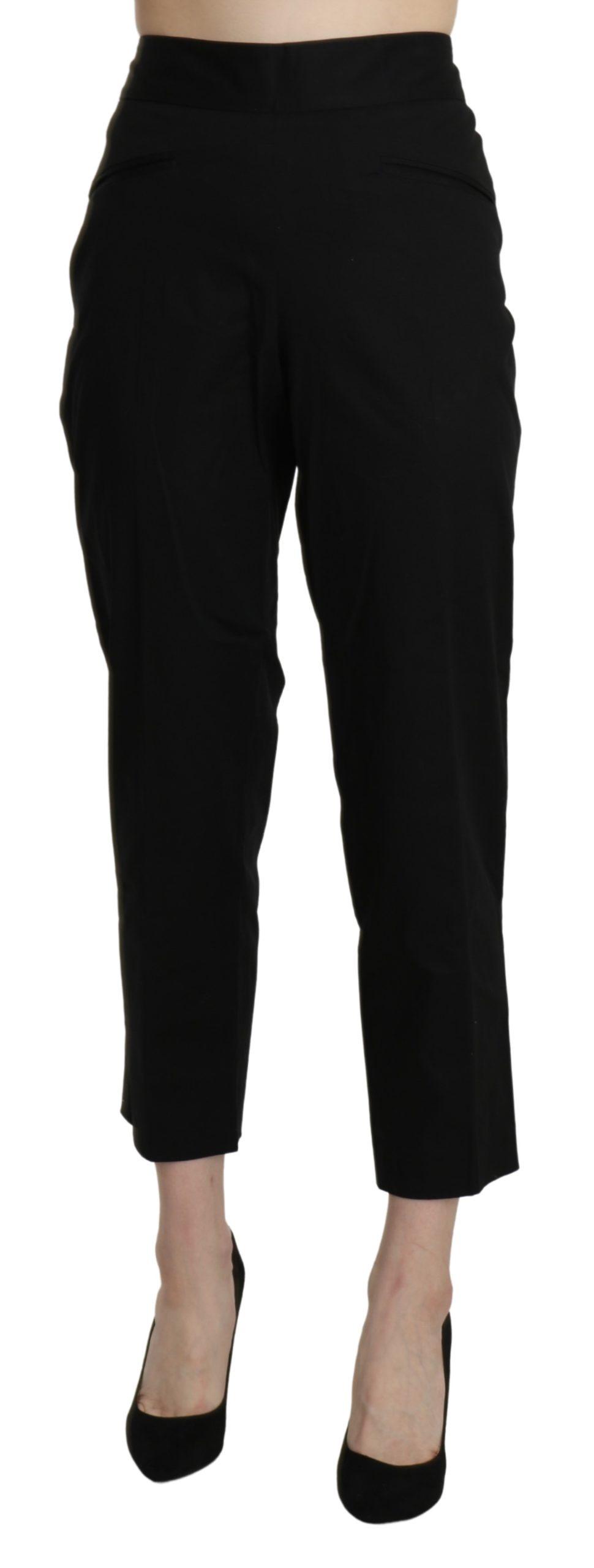 BENCIVENGA Women's High Waist Straight Cropped Trousers Black PAN71323-44 - IT44 L