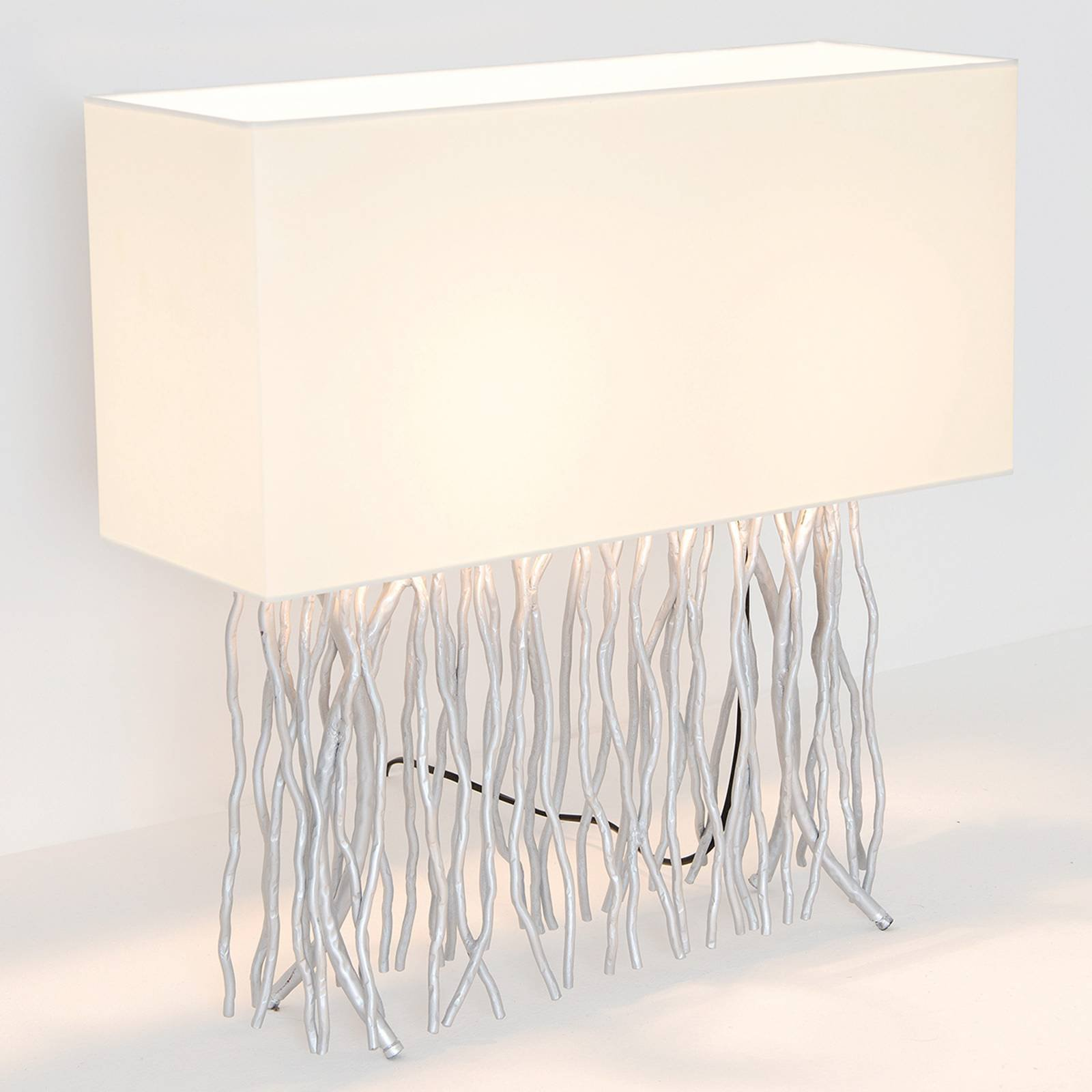 Bordlampe Capri, kantet, ecru/sølv