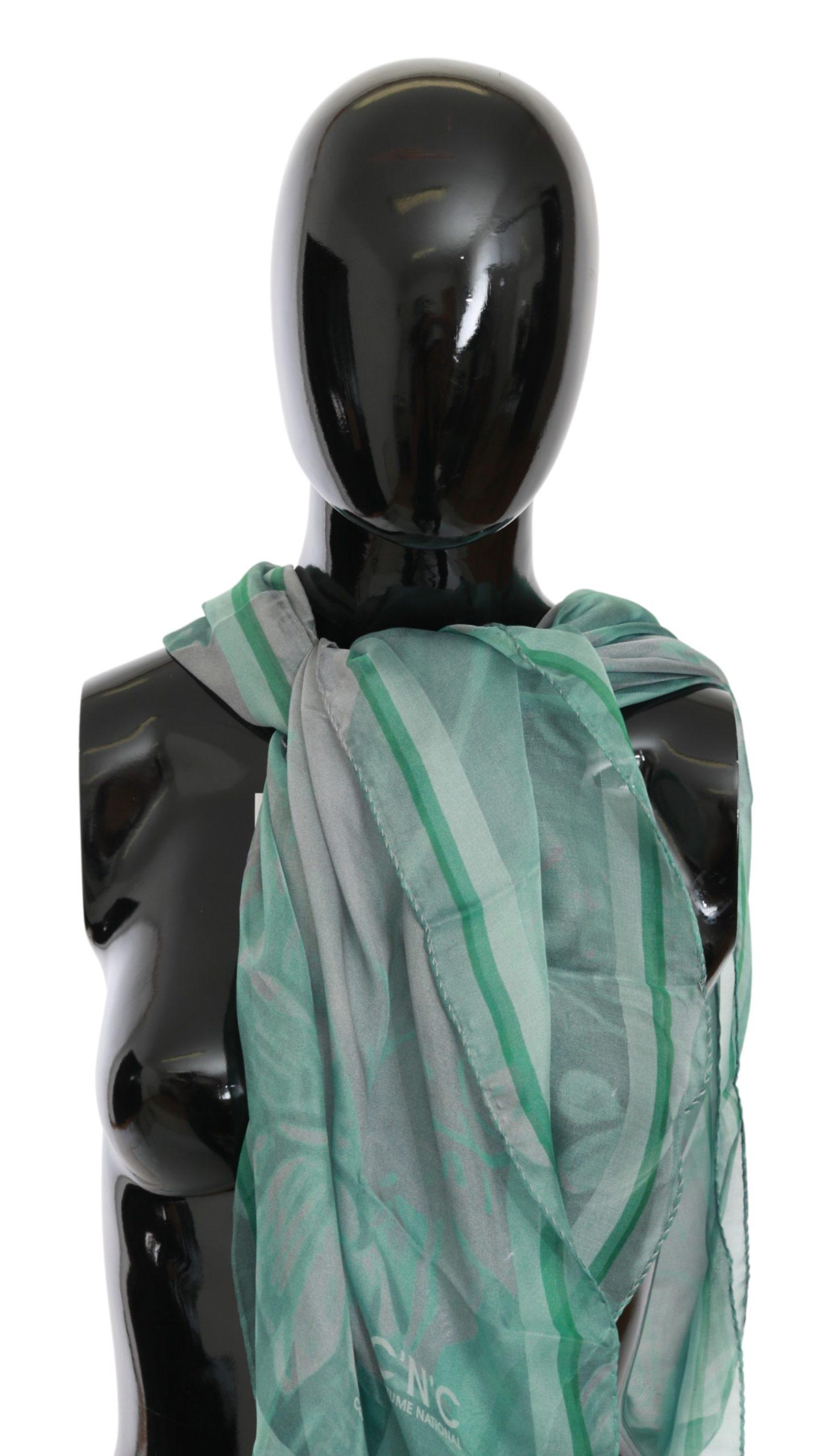 Costume National Women's Silk Foulard Wrap Scarf Green MS1649