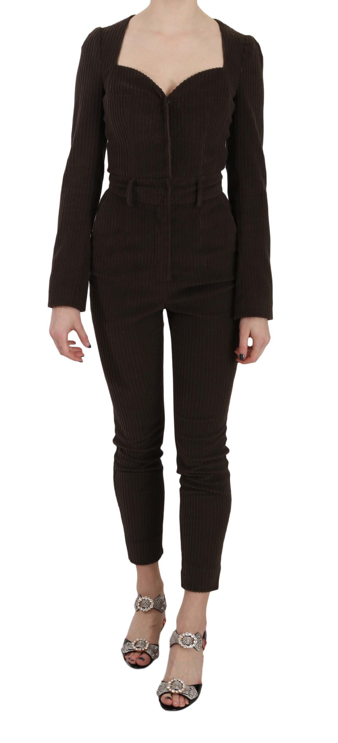 Dolce & Gabbana Women's Corduroy LS Cotton Dress Brown KOS1423 - IT40|S