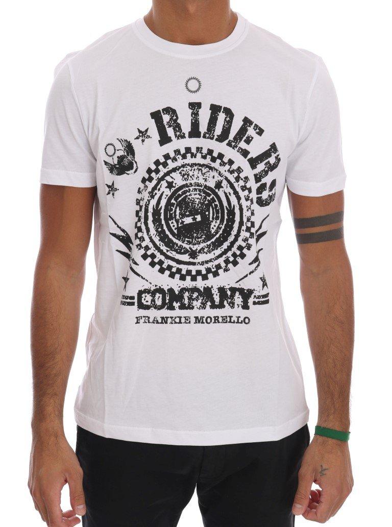 Frankie Morello Men's RIDERS Crew Neck T-Shirt Black White TSH1264 - M