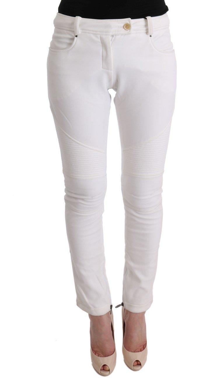 Ermanno Scervino Women's Cotton Slim Fit Trouser White SIG30310 - IT40|S